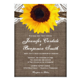 Rustic Burlap Lace Sunflower Wedding Invitations