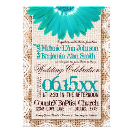 Rustic Burlap Lace Teal Daisy Wedding Invitations