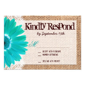 Rustic Burlap Lace Teal Daisy Wedding RSVP Cards