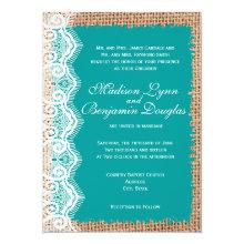 Rustic Burlap Lace Turquoise Wedding Invitations