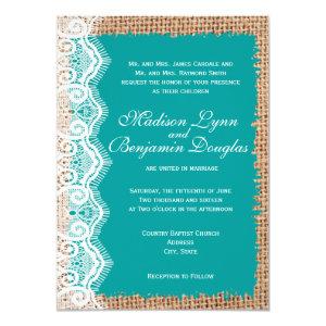 Rustic Burlap Lace Turquoise Wedding Invitations 4.5