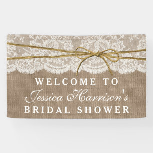 rustic burlap lace twine bow bridal shower banner