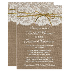 Rustic Burlap, Lace & Twine Bow Bridal Shower Card at Zazzle