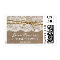 Rustic Burlap, Lace & Twine Bow Bridal Shower Postage