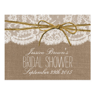 Rustic Burlap Lace Twine Bow Bridal Shower Recipe Postcard