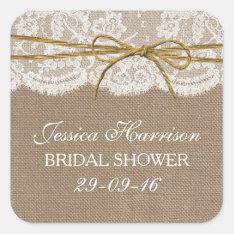 Rustic Burlap, Lace & Twine Bow Bridal Shower Square Sticker at Zazzle
