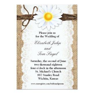 Rustic Burlap Lace Twine Daisy Wedding Invitation