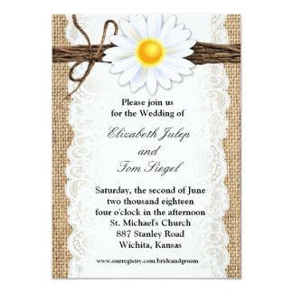 rustic burlap lace twine daisy wedding invitation - Daisy Wedding Invitations