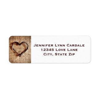 Rustic Burlap Lace Twine Heart Address Labels