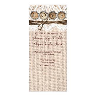 Rustic Burlap Lace Twine LOVE Wedding Program