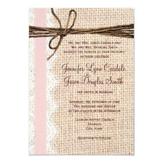 Rustic Burlap Lace Twine Pink Ribbon Wedding Invitations