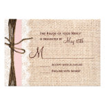 Rustic Burlap Lace Twine Pink Ribbon Wedding RSVP Personalized Invite
