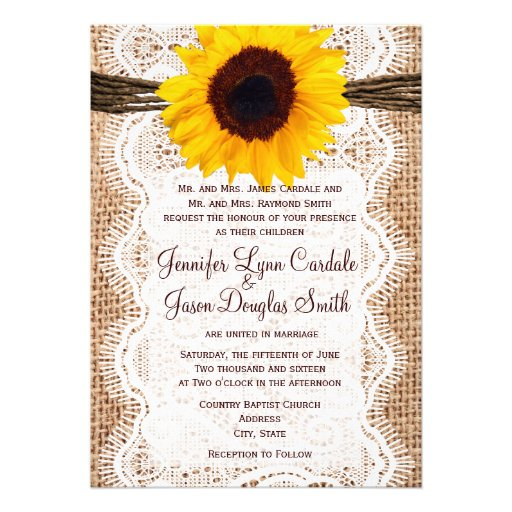 Rustic Burlap Lace Twine Sunflower Wedding Invites (front side)