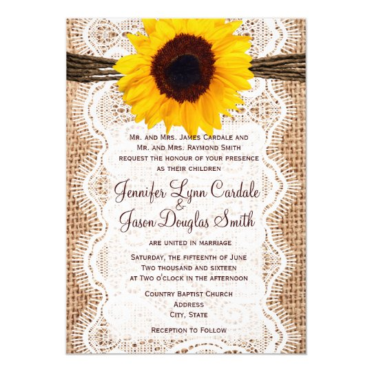 Rustic Burlap Lace Twine Sunflower Wedding Invites Zazzlecom