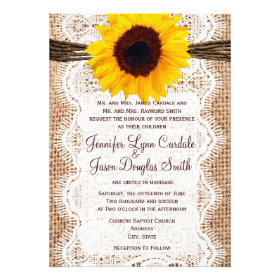 Rustic Burlap Lace Twine Sunflower Wedding Invites Invitations