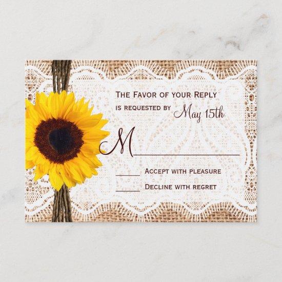 Rustic Burlap Lace Twine Sunflower Wedding RSVP