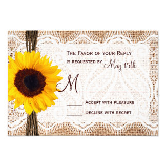 Rustic Burlap Lace Twine Sunflower Wedding RSVP Personalized Invite