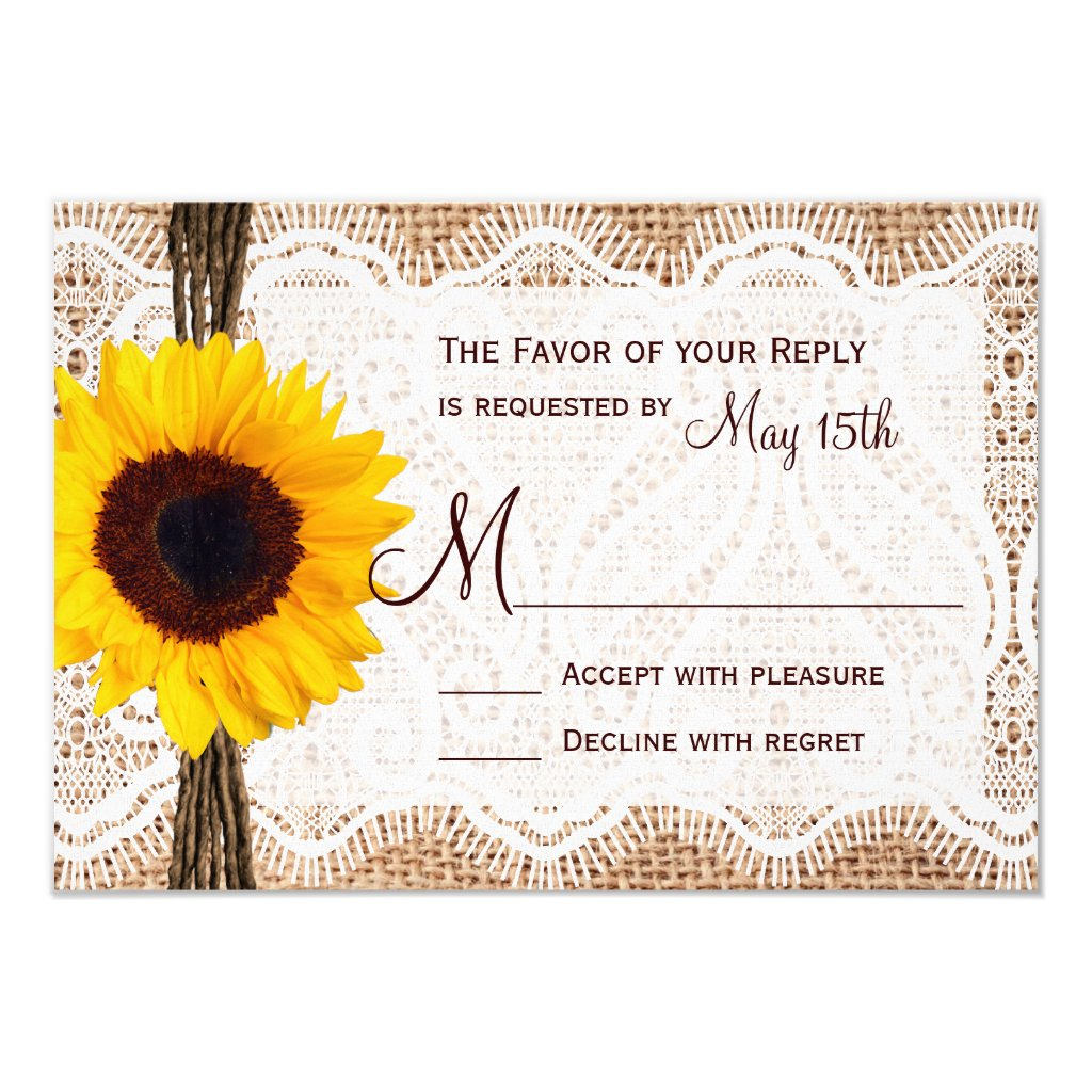 Rustic Burlap Lace Twine Sunflower Wedding RSVP Personalized Invite