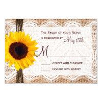 Rustic Burlap Lace Twine Sunflower Wedding RSVP 3.5x5 Paper Invitation Card (<em>$2.05</em>)