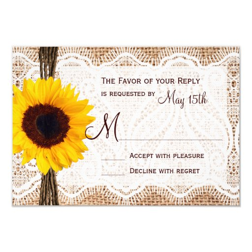 Rustic Burlap Lace Twine Sunflower Wedding RSVP 3.5x5 Paper Invitation Card