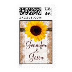 Rustic Burlap Lace Twine Sunflower Wedding Stamps