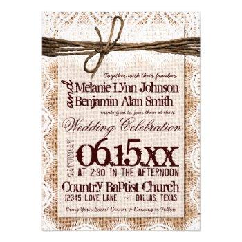 Rustic Burlap Lace Typography Wedding Invitations