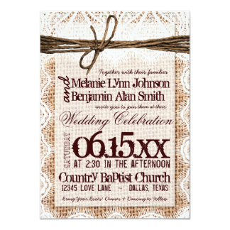 Rustic Burlap Lace Typography Wedding Invitations Personalized Announcements