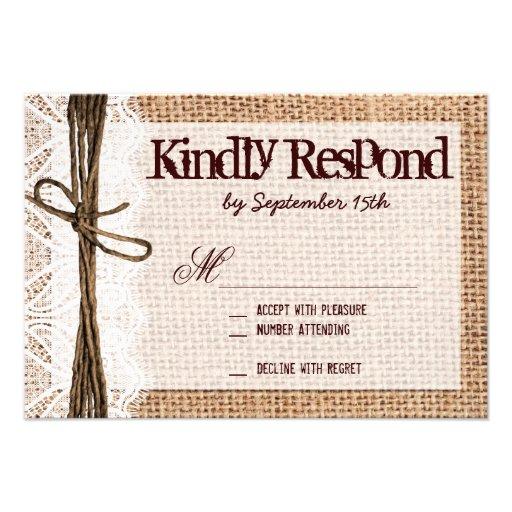Rustic burlap lace typography wedding rsvp cards 3 5 quot x 5 quot invitation