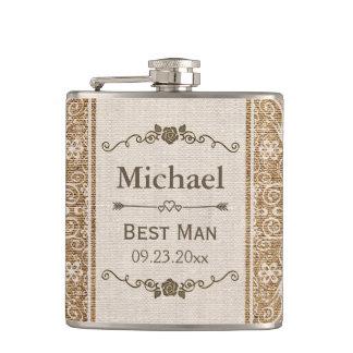 Rustic Burlap Lace Wedding Best Man Flasks