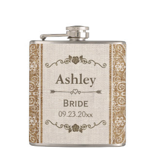 Rustic Burlap Lace Wedding Bride Hip Flask