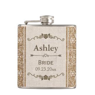 Rustic Burlap Lace Wedding Bride Hip Flask