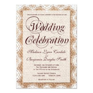 "Rustic Burlap Lace Wedding Celebration Invitations 4.5"" X 6.25"" Invitation Card"