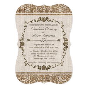 Rustic Burlap Lace Wedding 5x7 Paper Invitation Card