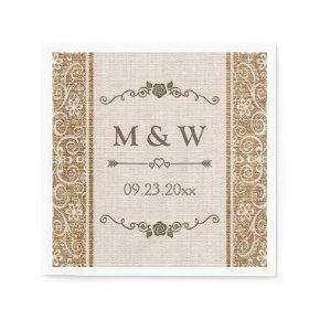 Rustic Burlap Lace Wedding Monogram Standard Cocktail Napkin