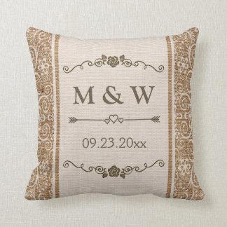 Rustic Burlap Lace Wedding Monogram Throw Pillow