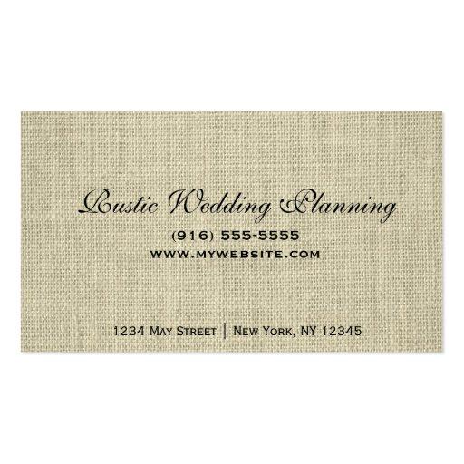 Rustic Burlap & Lace Wedding Planner Business Card (back side)
