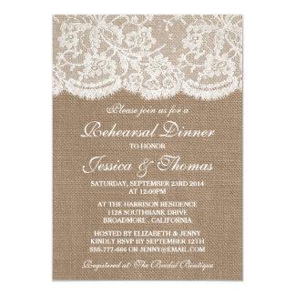 Rustic Burlap & Lace Wedding Rehearsal Dinner 5x7 Paper Invitation Card