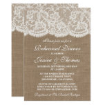 Rustic Burlap & Lace Wedding Rehearsal Dinner Card