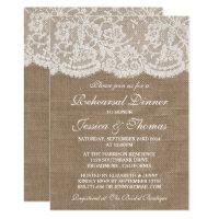 Rustic Burlap & Lace Wedding Rehearsal Dinner Card
