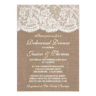 Rustic Burlap & Lace Wedding Rehearsal Dinner 5x7 Paper Invitation Card