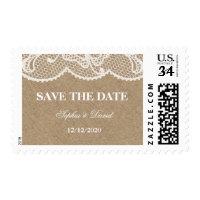 Rustic Burlap & Lace Wedding RSVP Custom Monogram Postage