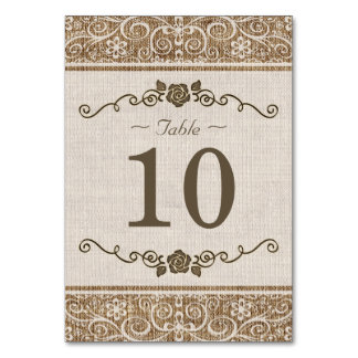 Rustic Burlap Lace - Wedding Table Number Card Table Cards