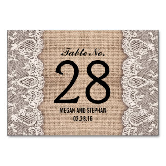 Rustic burlap lace wedding table number cards