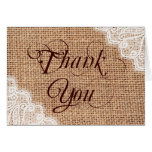Rustic Burlap Lace Wedding Thank You Cards