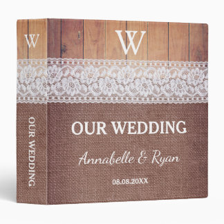 Rustic Burlap Lace & Wood | Our Wedding 3 Ring Binder