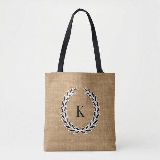Rustic Burlap Look Black and White Monogram Wreath Tote Bag