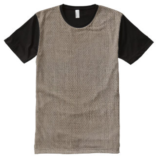 Rustic Burlap-Look Brown Printed Background All-Over Print T-shirt
