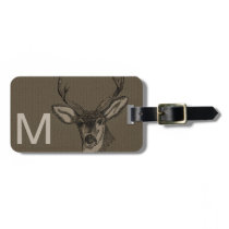 Rustic Burlap Look Deer Head Pattern Bag Tag