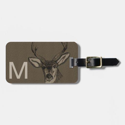 Rustic Burlap Look Deer Head Pattern Tag For Luggage