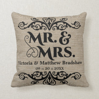 Rustic Burlap Look Mr. and Mrs. Wedding Throw Pillow